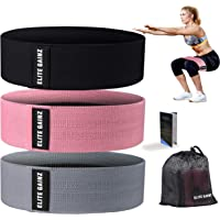 Elite Gainz Resistance Booty Bands Set: 3 Non-Slip Fabric Exercise Bands for Butt, Leg & Arm Workout. Perfect Gym Home & Travel Hip Bands for Women. Exercise Program and Carry Bag Included.Include bonus eBook beginner's guide to yoga and meditation