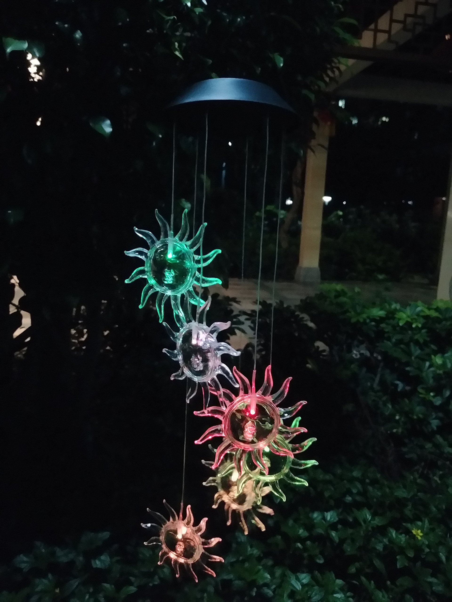 WiVison Wind Chime Summer Automatic Light Sensor Mobile Hanging Lamp Led Solar Powered Hanging Windbell Lights Outdoor Decor for Gift Home Party Balcony Porch Patio Garden Clear Sun Sunflower