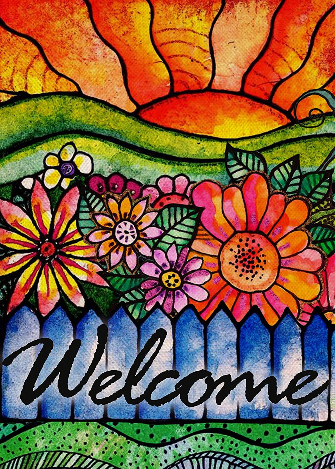 Covido Home Decorative Welcome Spring Summer Garden Flag, Vintage Watercolor Flowers House Yard Lawn Decor Farmhouse Outside Decorations, Seasonal Outdoor Small Burlap Flag Double Sided 12 x 18