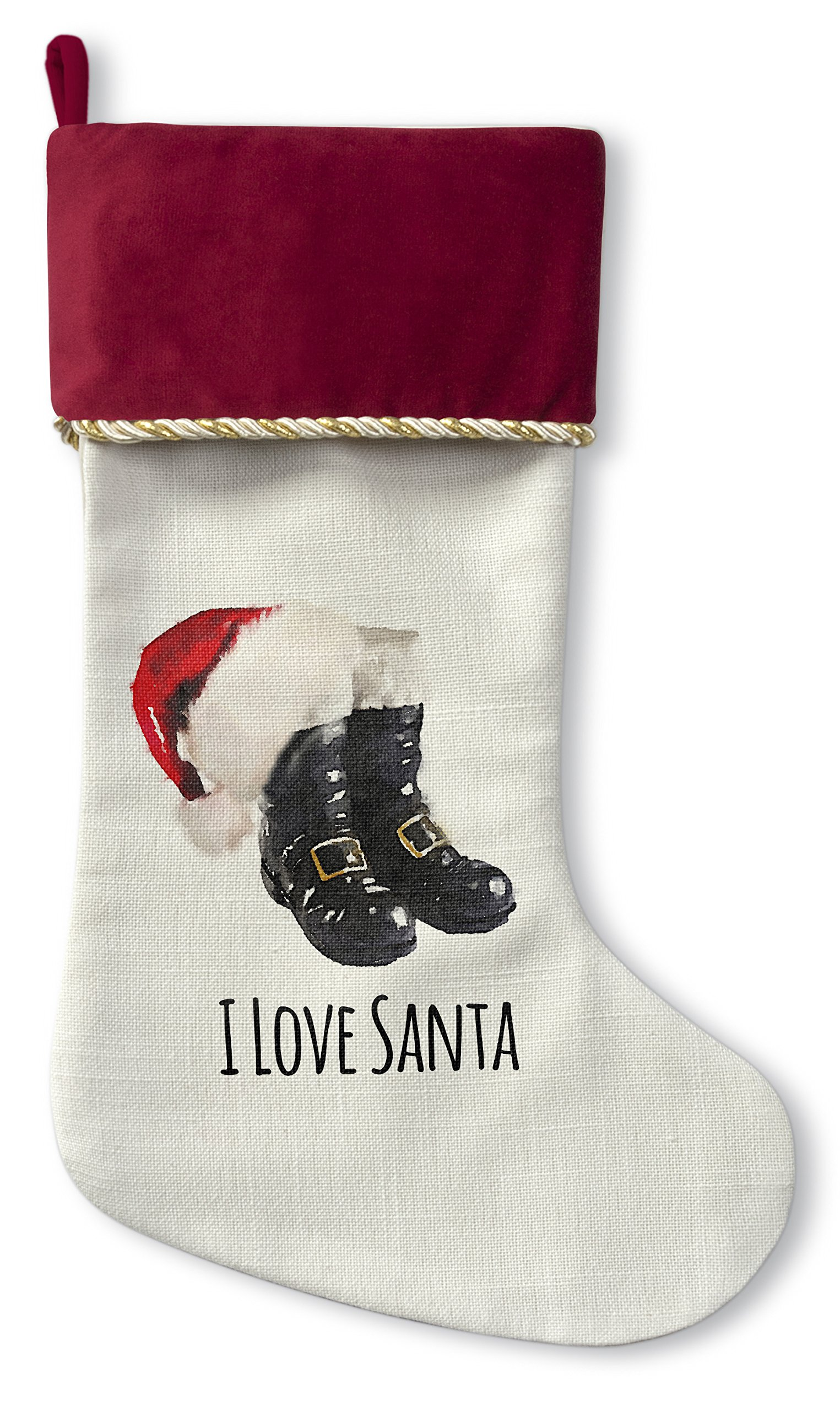 KAVKA DESIGNS I Love Santa Christmas Stocking, (White/Black/Red) - TRADITIONS Collection, Size: 12.5x21 - (TELAVC1051CSTR)
