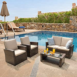Walsunny Quality Outdoor Living,Outdoor Patio Furniture Sets,5 Piece Conversation Set Wicker Ratten Sectional Sofa with Seat Cushions (Brown)