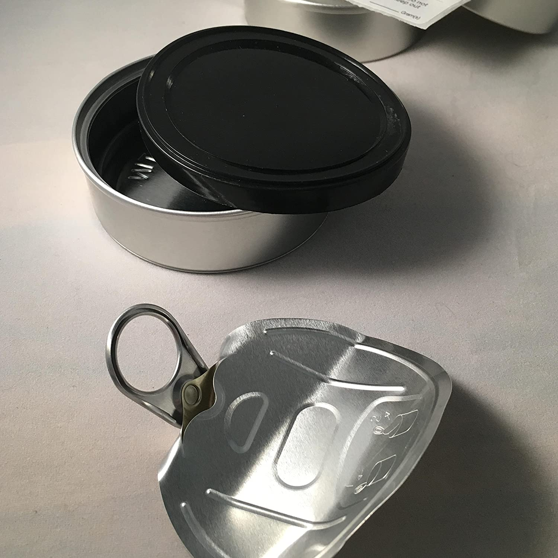 Pressitin Tuna Tin Cans 100ml 3 5g 3 5 gram - BLACK LIDS INCLUDED - Self  Hand Sealed - Smell Lock Tamper Evident Proof (1000, 100ML / 3 5 GRAM)