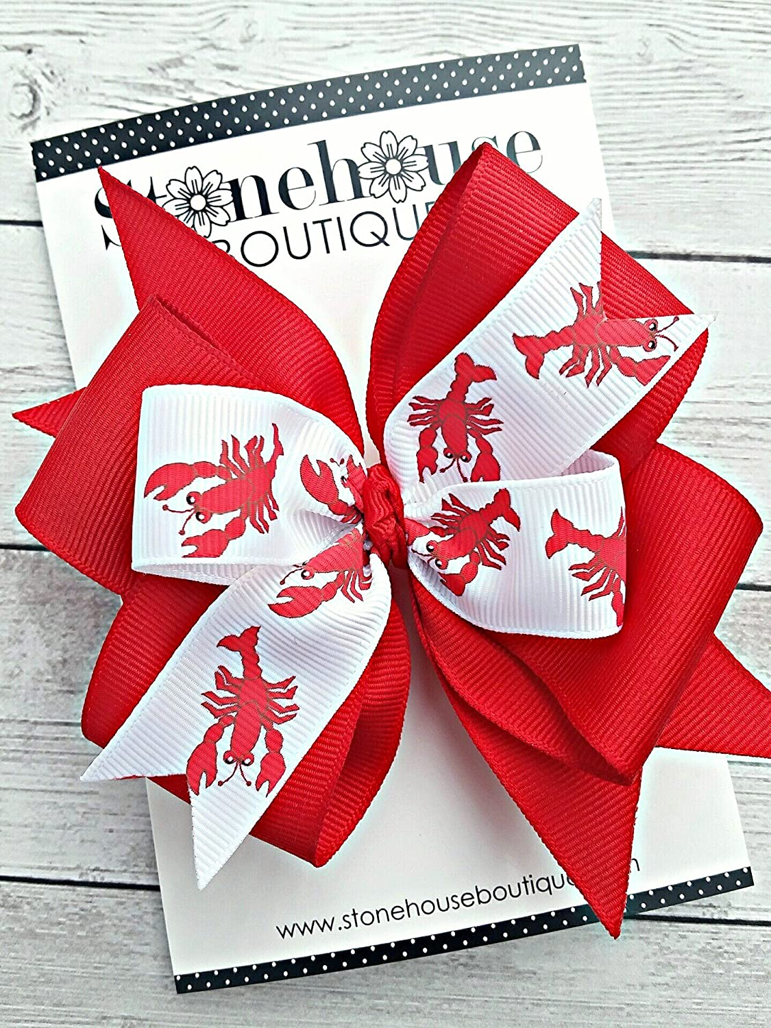 Lobster Boil Crawfish Cajun Hair Bow for Girls, Attach to Hair Clip, Barrette or Headband