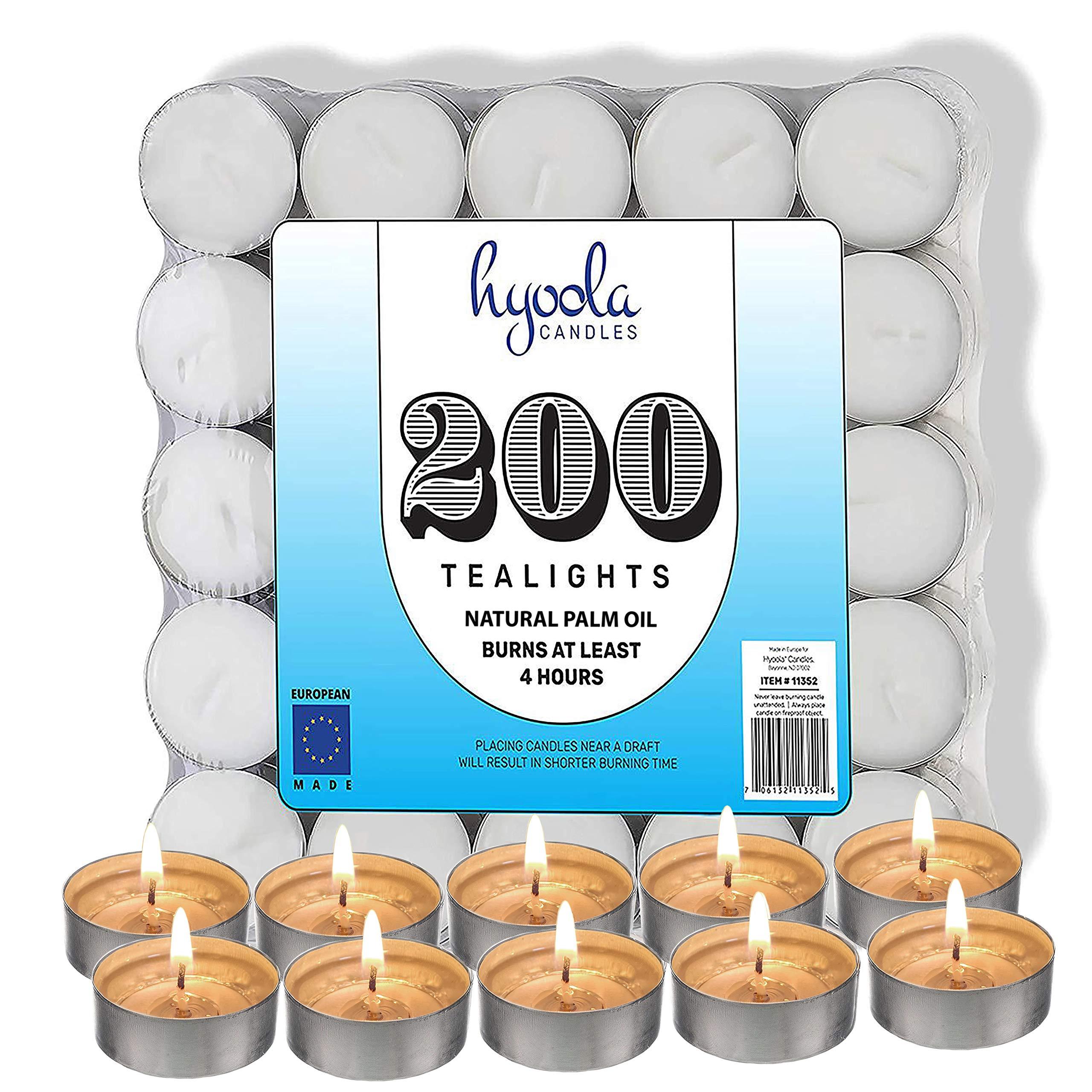 Hyoola Tea Lights Candles - 200 Bulk Candles Pack - Natural Palm Oil Tea Light - European Quality White Unscented Tealight Candles - 4 Hour Burn Time