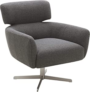 """Amazon Brand – Rivet Adrienne Swivel-Base Contemporary Living Room Chair, 29""""W, Flannel-Colored Fabric"""