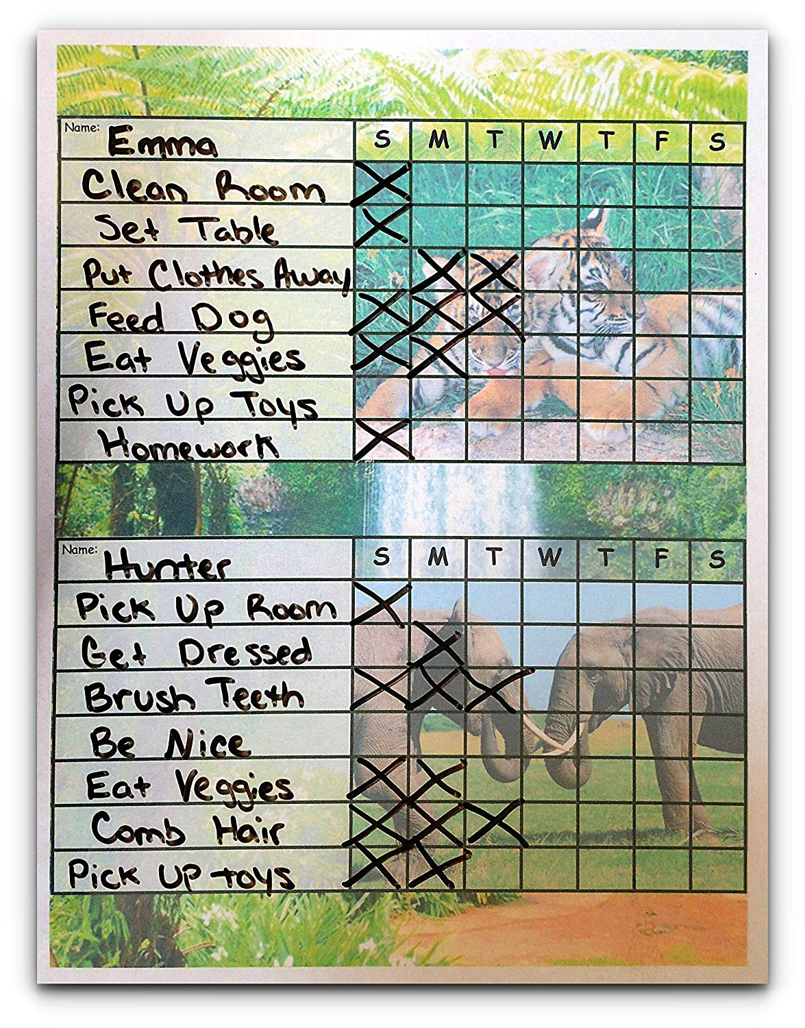 Multiple Kid Weekly Chore Chart for 2 or 3 Kids Write Names and Chores with Dry Erase Markers, Variety of Themes to Choose From