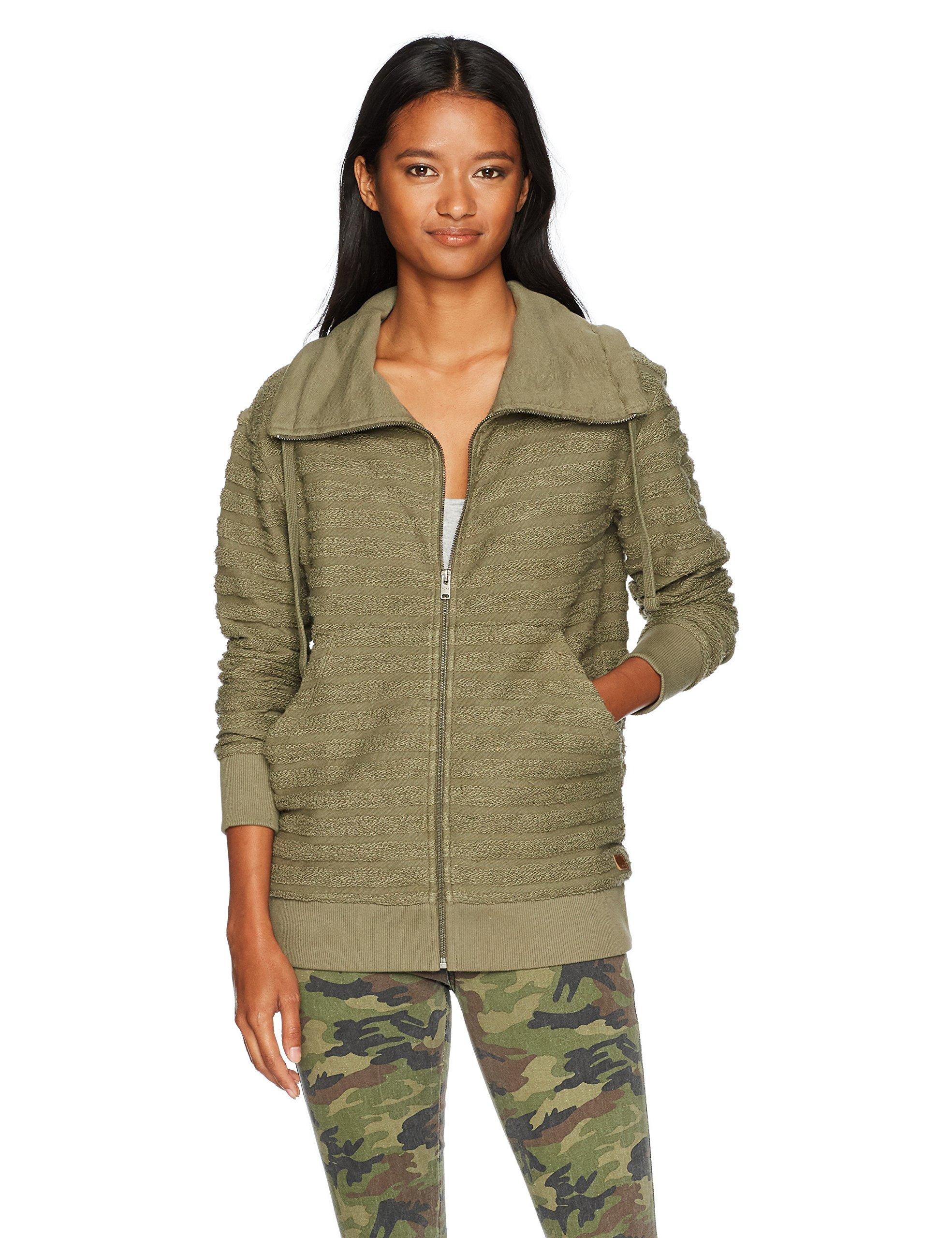 Roxy Women's Lunar Patrol Zip up Fleece Sweatshirt, Dusty Olive, S