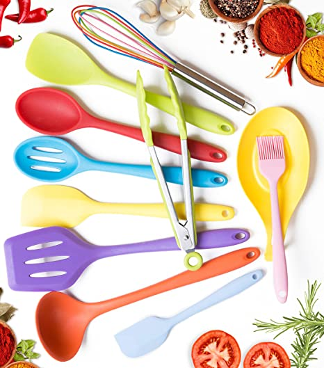 11pc Silicone Kitchen Utensil Set by CuisineFacets Colorful Cooking  Utensils with Spatula, Serving Tools, Accessories and FREE Spoon Rest -  Heat ...