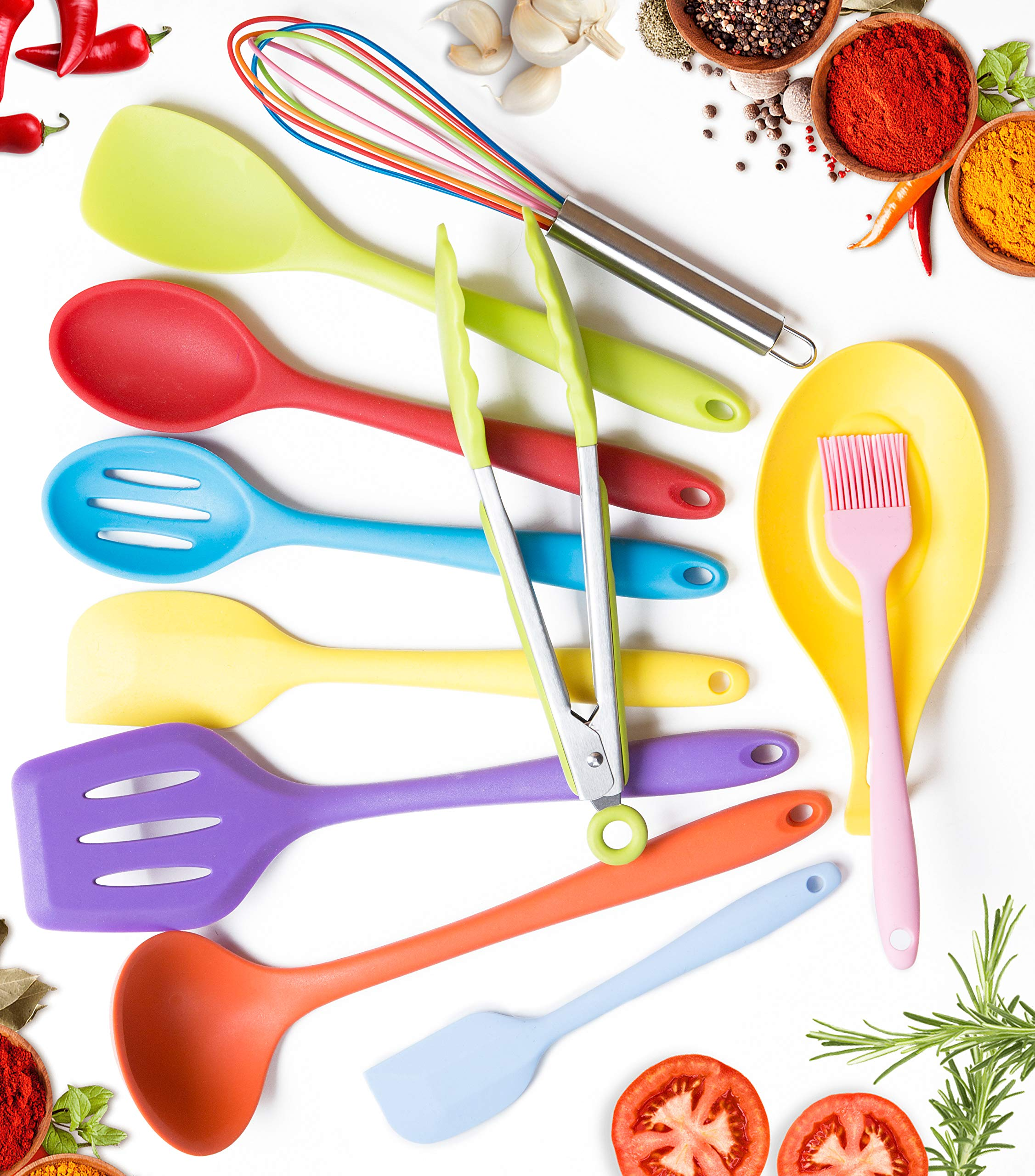 11pc Silicone Kitchen Utensil Set by CuisineFacets Colorful Cooking Utensils with Spatula, Serving Tools, Accessories and FREE Spoon Rest - Heat Resistant Spatulas and Spoons for Non-Stick Cookware 9 ✅11PC incl. FREE SPOON REST: Imagine how many colorful food creations you can now unleash all at once, because your utensil set includes everything! Silicone Wisk, Pastry Brush, 2x Spatulas, Slotted Spoon, Salad Spoon, Food Tong, All-Purpose Spoon, large Ladle, Slotted Turner, and BONUS Spoon Rest. ✅HEAT RESISTANT & EASY TO CLEAN: From the Rainbow Whisk to the Pink Pastry Brush, just pop your silicone kitchen utensils in the dishwasher to clean. Everything is made from FDA Compliant Food Grade Silicone and can withstand temperatures up to 446°F... like steaming hot pasta, pumpkin soup or pancakes. ✅WHAT'S YOUR FAVE? If you're like most people, there are always 1 or 2 kitchen tools you love the most. And if you're like us, it could even be because of color. Either way, our Cheery Utensils Set from CuisineFacets gives you the best of both - your favorite non-stick kitchen utensils, in your favorite colors too.