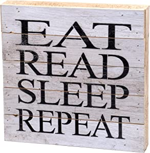 Second Nature By Hand 10x10 Inch Reclaimed Wood Art, Handcrafted Decorative Wall Plaque — EAT Read Sleep Repeat
