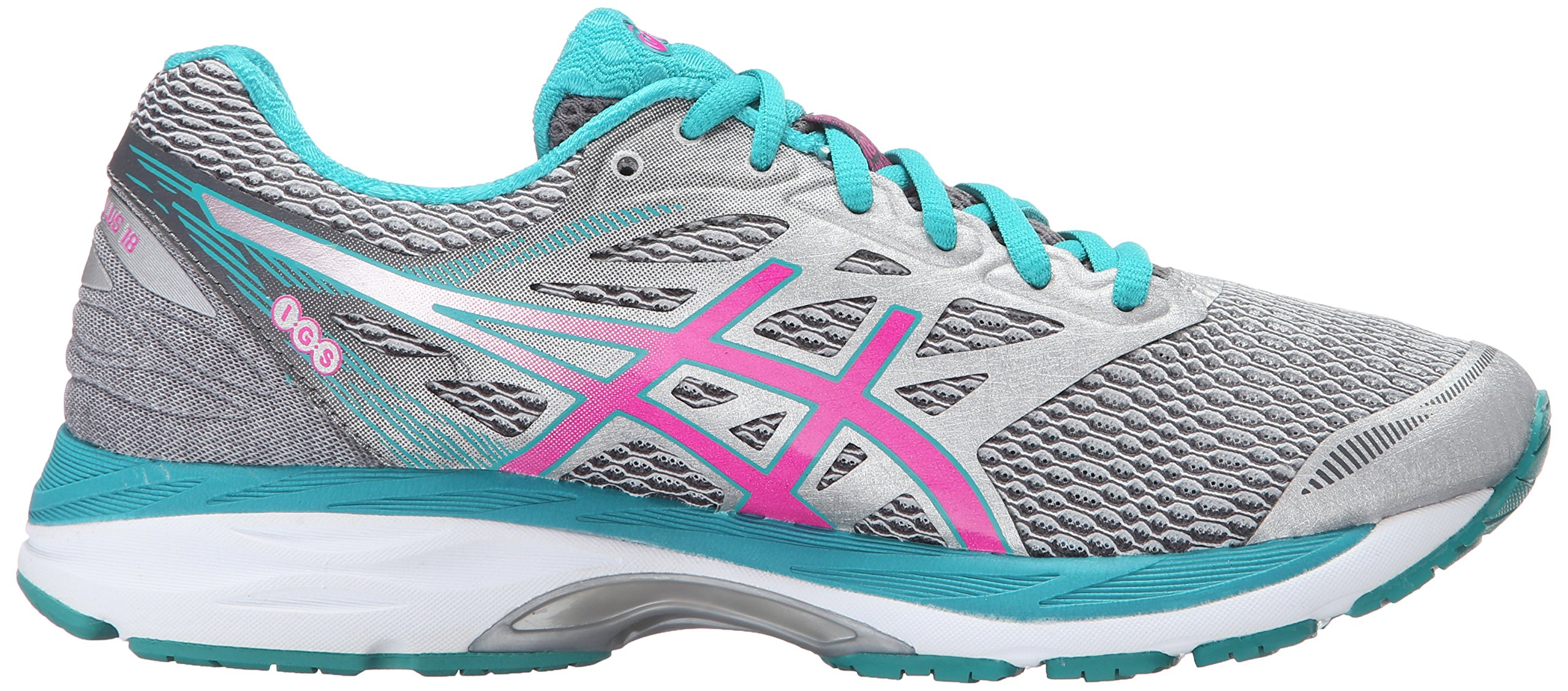 ASICS Women's Gel-Cumulus 18 Running Shoe, Silver/Pink Glow/Lapis, 8.5 M US