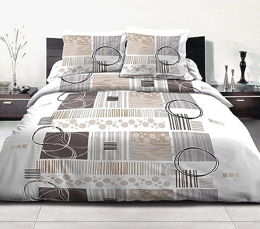 HOME Funda nórdica de 3 pcs 220 x 240 100% algodón 57 Hilos Mangor Choco: Amazon.es: Hogar