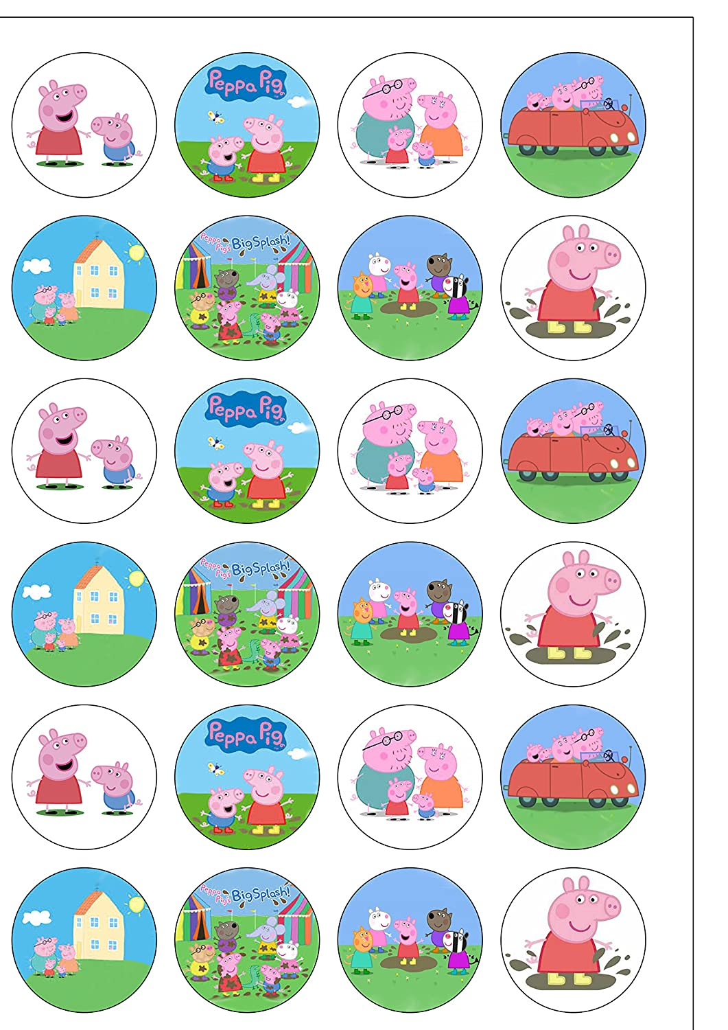 24 Precut Round Peppa Pig and Friends Edible Wafer Paper Cake Toppers