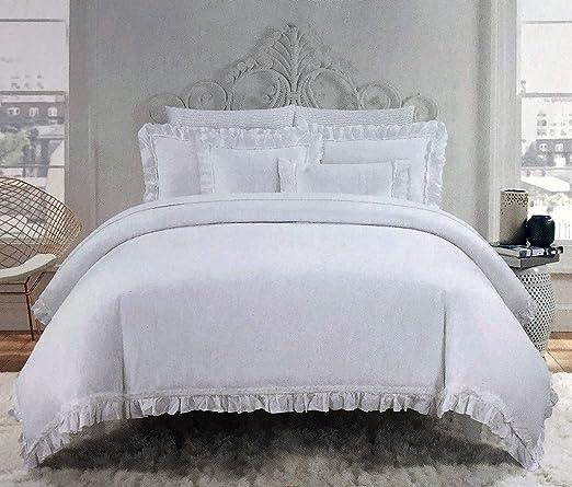 White /& Grey Luxury Modern Glitter Ruffle Duvet Cover Bedding Sets 4 Sizes