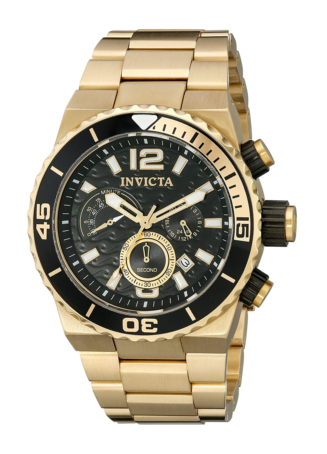 Amazon.com: Invicta Men's 1343 Pro Diver Chronograph Black Dial 18k Gold  Ion-Plated Stainless Steel Watch: Invicta: Watches
