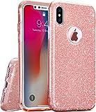 TOZO iPhone X Case, SHINY [Bling Crystal] Ultra Thin Sparkle Premium 3 Layer Hybrid TPU Soft Grip – Pink