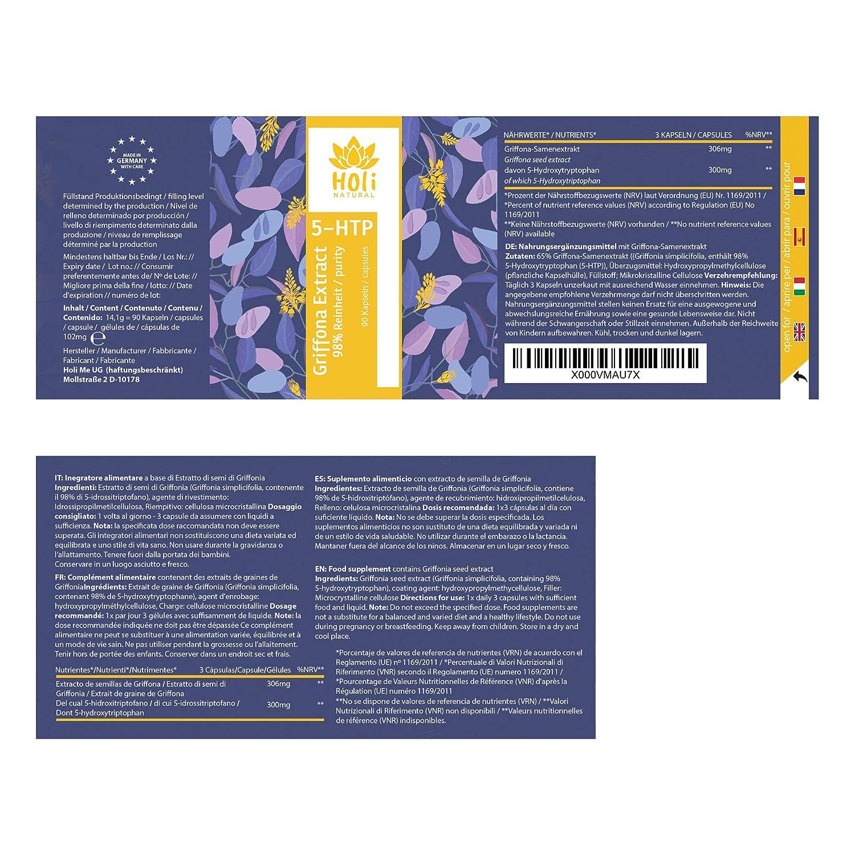 PURO 5-hidroxitriptófano de extracto de semilla de Griffonia. Vegano. Sin estearato de Magnesio. Producido en Alemania: Amazon.es: Salud y cuidado personal