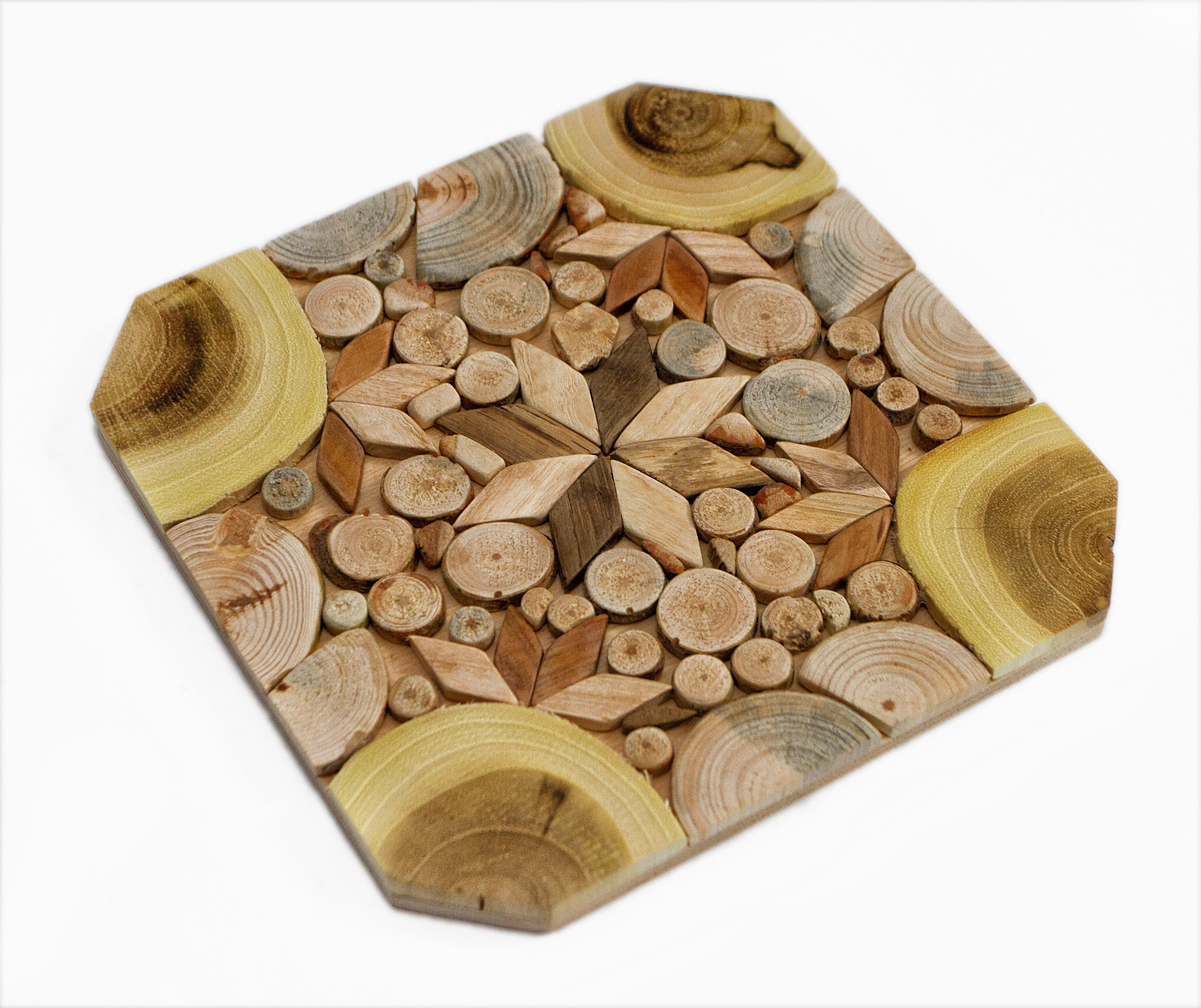 Wooden Trivet for Hot Dishes - Handmade Mosaic - Big Coaster - 6 Sorts of Wood - Natural Smell - Unique Art Decor in the Kitchen - Made by SPL Woodcraft Ukraine by SPL woodcraft