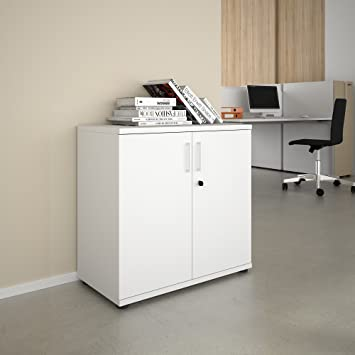 PROFI Aktenschrank abschließbar 2OH Weiß Schrank Büroschrank ...