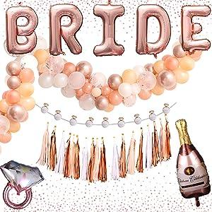 Bachelorette Party Decorations Set, Rose Gold Balloon Garland Kit, Bridal Shower Kit, Bridal Decorations Party, Bridal Shower Decor Kit, Bachelorette Party Pack (Bride)