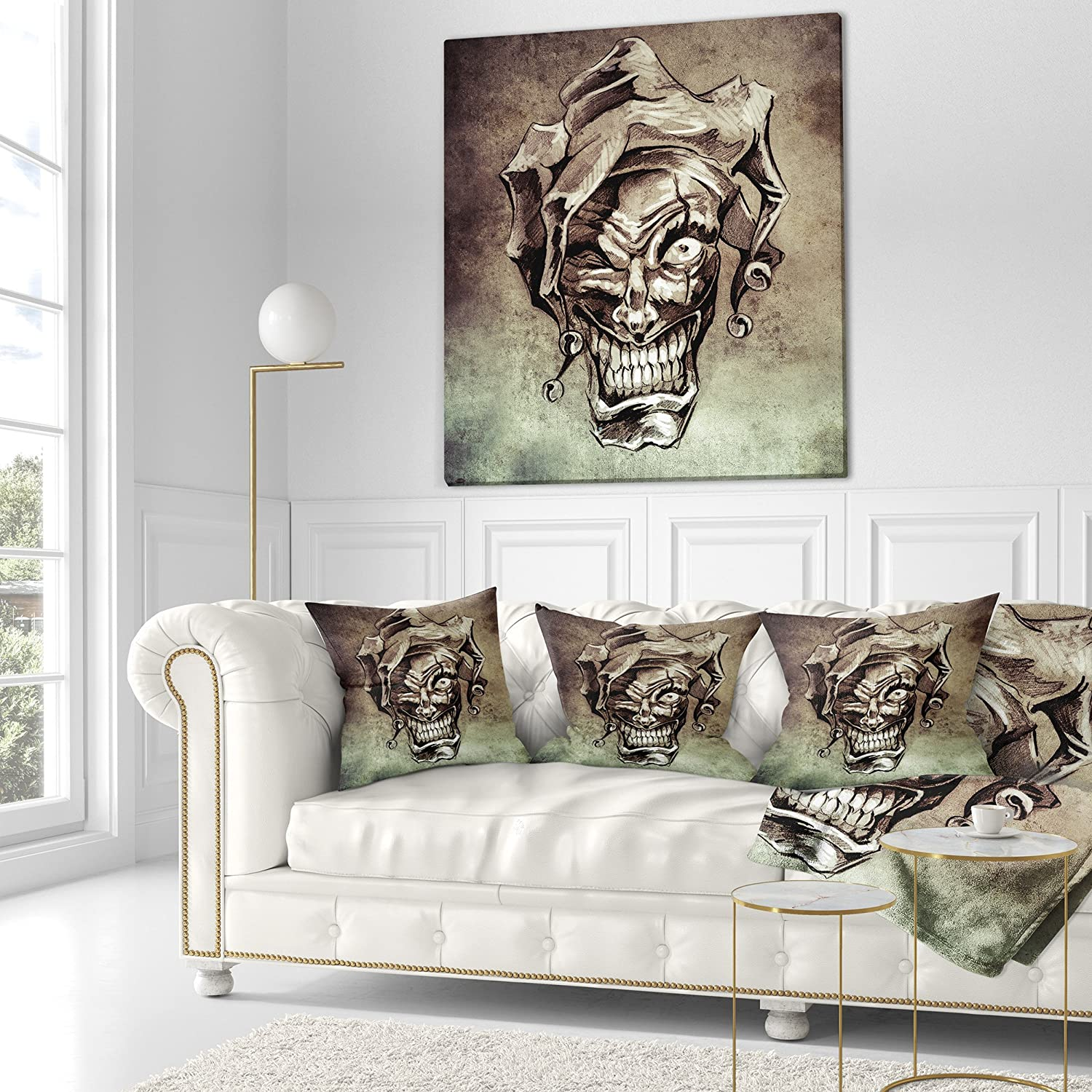 Designart CU7822-18-18 Fantasy Clown Joker Tattoo Sketch Abstract Cushion Cover for Living Room Sofa Throw Pillow 18 x 18