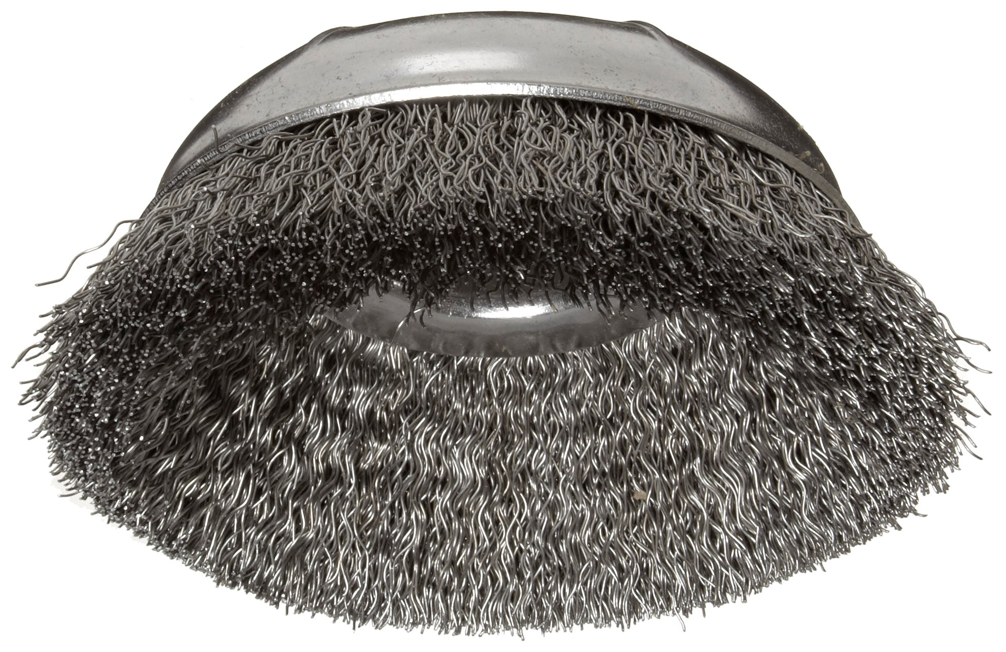 Weiler Wire Cup Brush, Threaded Hole, Steel, Crimped Wire, 4'' Diameter, 0.0118'' Wire Diameter, 5/8''-11 Arbor, 1-3/8'' Bristle Length, 9000 rpm (Pack of 1)