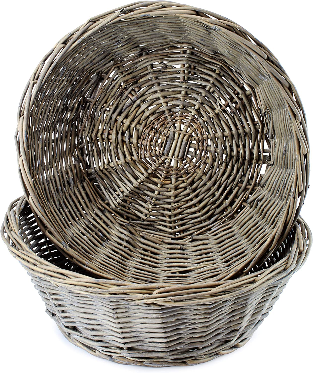 AuldHome Gray Washed Bread Baskets (2-Pack), Farmhouse Rustic Woven Wicker Round Basket for Kitchen, Home and Storage