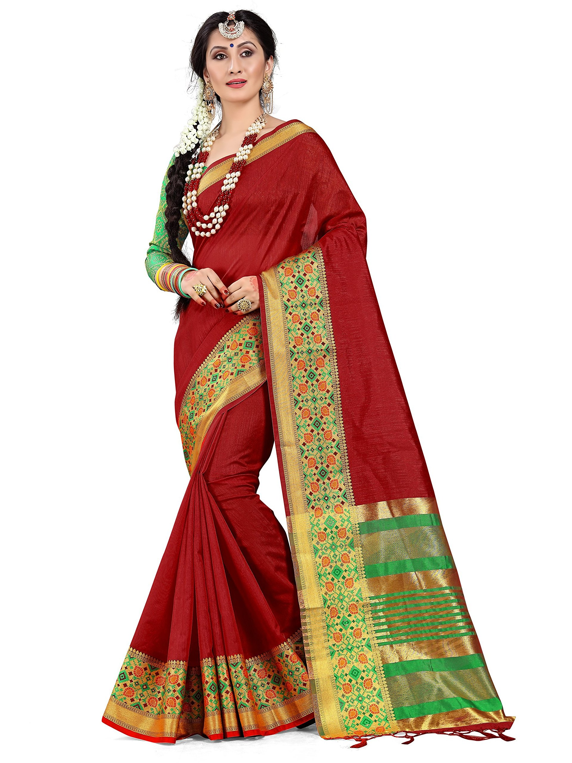 ELINA FASHION Sarees Women Cotton Silk Woven Saree l Indian Wedding Gift Sari Unstitched Blouse