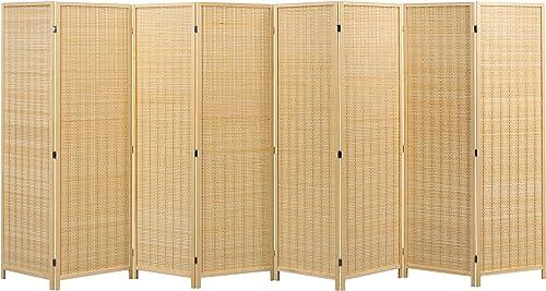 MyGift 8-Panel Freestanding Beige Woven Bamboo Folding Room Divider
