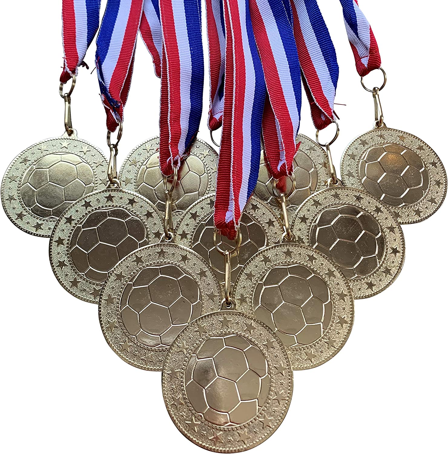 10 Pack of Silver Soccer Medals Trophy Award with Neck Ribbons