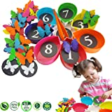 Color Sorting & Counting Toddler Toys: Skoolzy Butterfly Kids STEM Educational Math Manipulatives & Montessori Materials Activities - 75pc Matching Game for 2 3 4 5 Year Old Boys & Girls Toy Counters