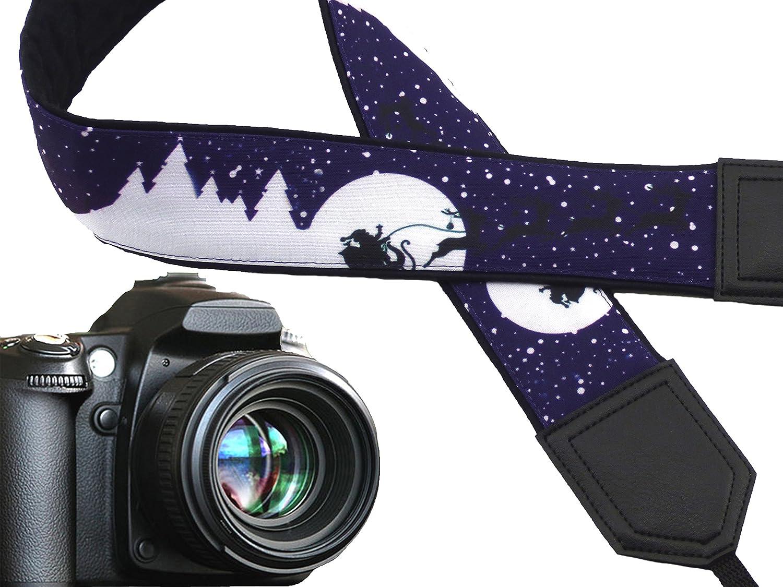 Violet Holiday Entertaining /& Decor Christmas Camera Strap Dark Purple DSLR Camera Strap Santa Claus Code 00302 Sledges