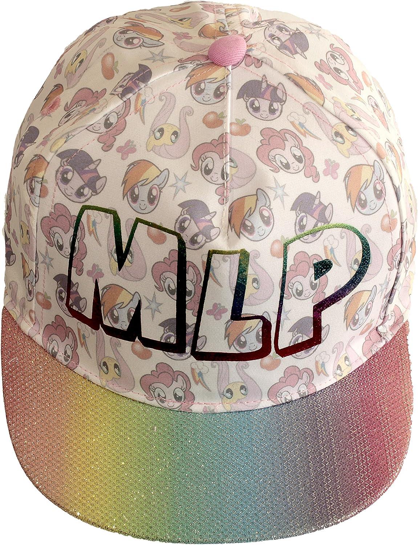 Official Licensed Girls My Little Pony Summer Baseball Cap White Rainbow Glitter Peak Age 4-8 Years Character Design All Over