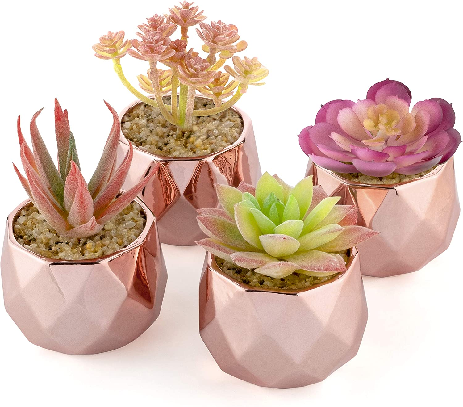 Artificial Succulent Plants - Rose Gold Ceramic Pots for Home Decor - Set of 4 - 2 inch/5cm Planters - Perfect for Indoors and Outdoors - Living Room, Kitchen, Bathroom, Office, Desk, Bedroom (Pink)