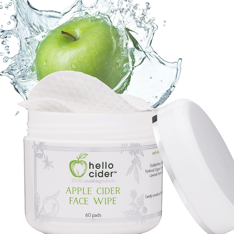 Apple Cider Vinegar Face Toner Pads - Witch Hazel,Tea Tree,Rose Geranium, Lavender. Tone, Reduce Blemish, Balance pH, Clear Pores & Acne Prone Skin, 60 pads. Hello Cider