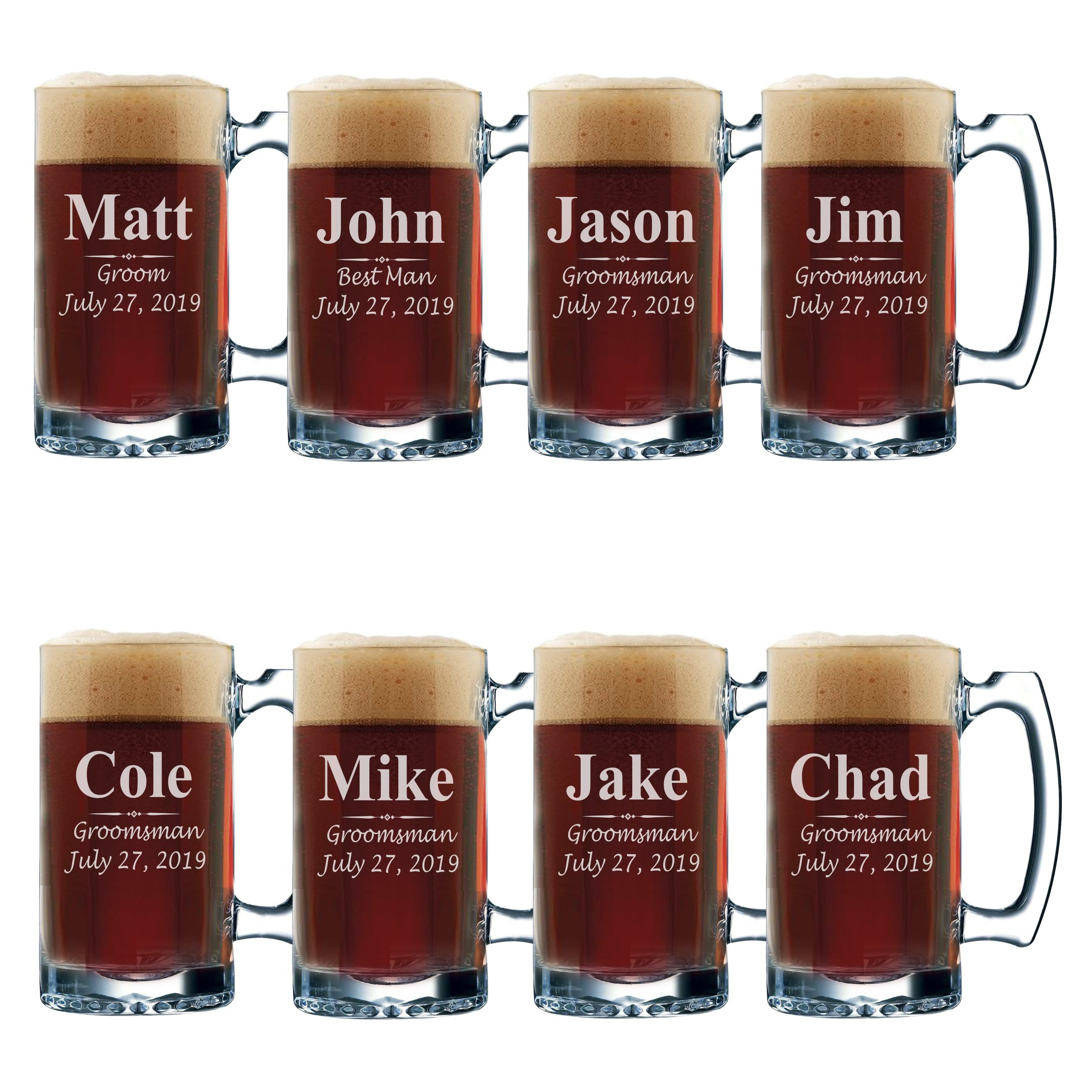 Set of 3, Set of 5 Set of 7 and more Personalized Groomsmen Beer Glasses - Custom Engraved Groom, Best Man Gift Mugs - 3 Lines Style 12 oz (8)