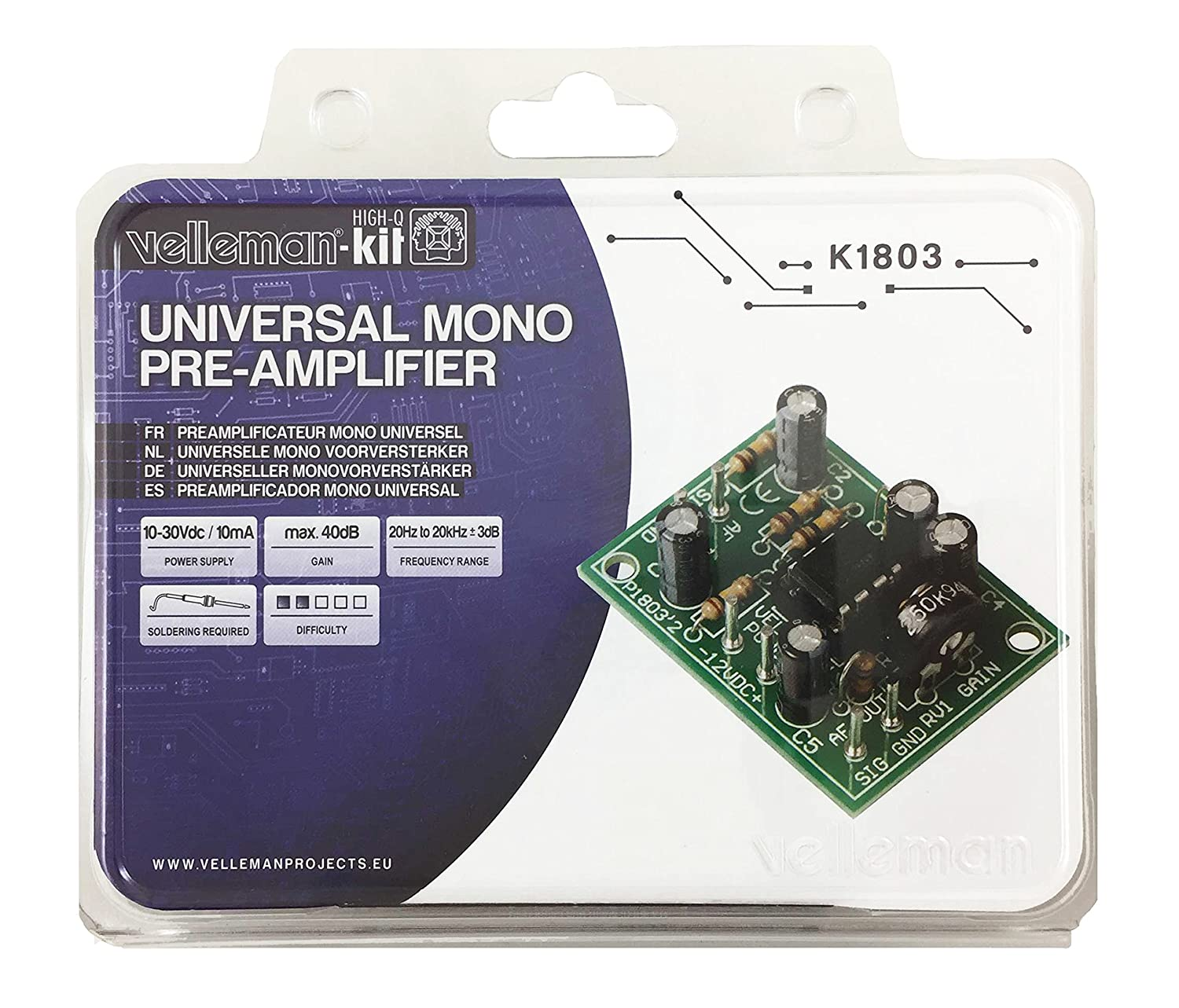 Universal Mono Pre Amplifier Kit K1803 By Velleman Dynamic Mic Preamplifier Circuit Intermediate Level Soldering Musical Instruments