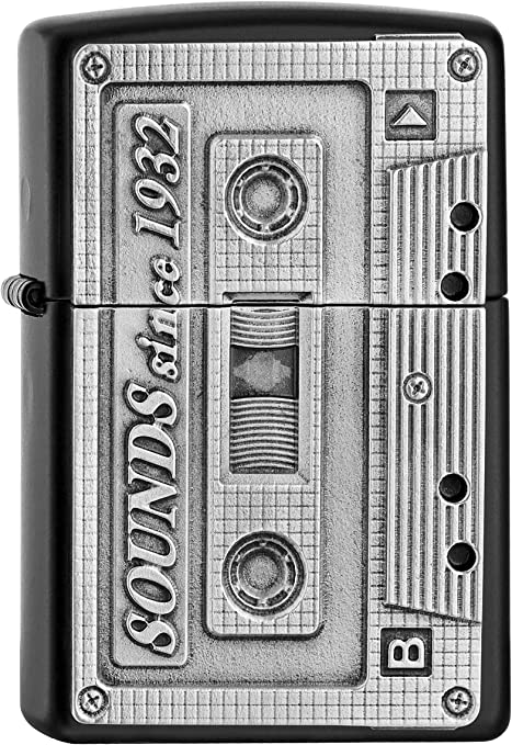 Zippo Tape Accendino Cassette Nero 5.8 x 3.8 x 1.8 cm Cromo Black Matt