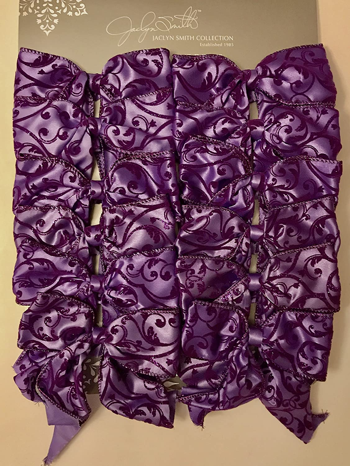 Jaclyn Smith 12 Wired Decorative Bow Collection Purple with Dark Purple Trim Winter Wishes 0787372778