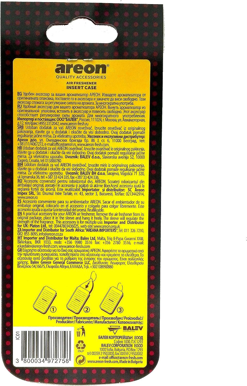 Areon Leder Tasche Für Auto Lufterfrischer Zum Aufhängen Spiegel Leer Nachfüllbar Schwarz Wohnung Hängend Pack X 1 Auto