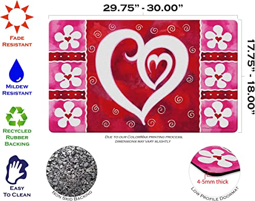 Toland Home Garden Heart Flowers 18 x 30 Inch Decorative Flower Floor Mat Valentine Doormat