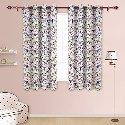 Perfect Deconovo Decorative Baby Room Darkening Dogs Print Grommet Top Window  Blackout Panels Thermal Insulated Blackout Curtains
