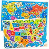Quokka Wooden Puzzles for Toddlers 2 3 4 5 Year Olds - 2 Pack Puzzles - Kids Matching Game for Learning World Map USA…