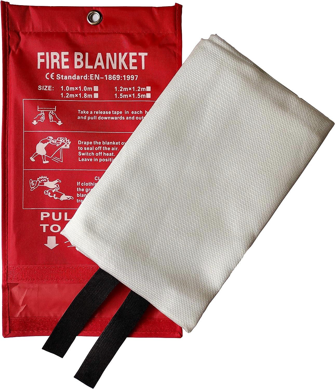 Camping Protection Ignifuge et Isolation Thermique Barbecue 2x2m Toneeko Couverture Anti-feu en Fibre de Verre pour la Survie Voiture con/çue pour la Cuisine chemin/ée