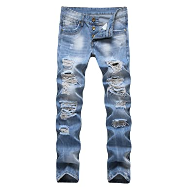 40f46f465a5a Liuhond Men's Ripped Jeans Pants Slim Fit Light Blue Denim Holes ...