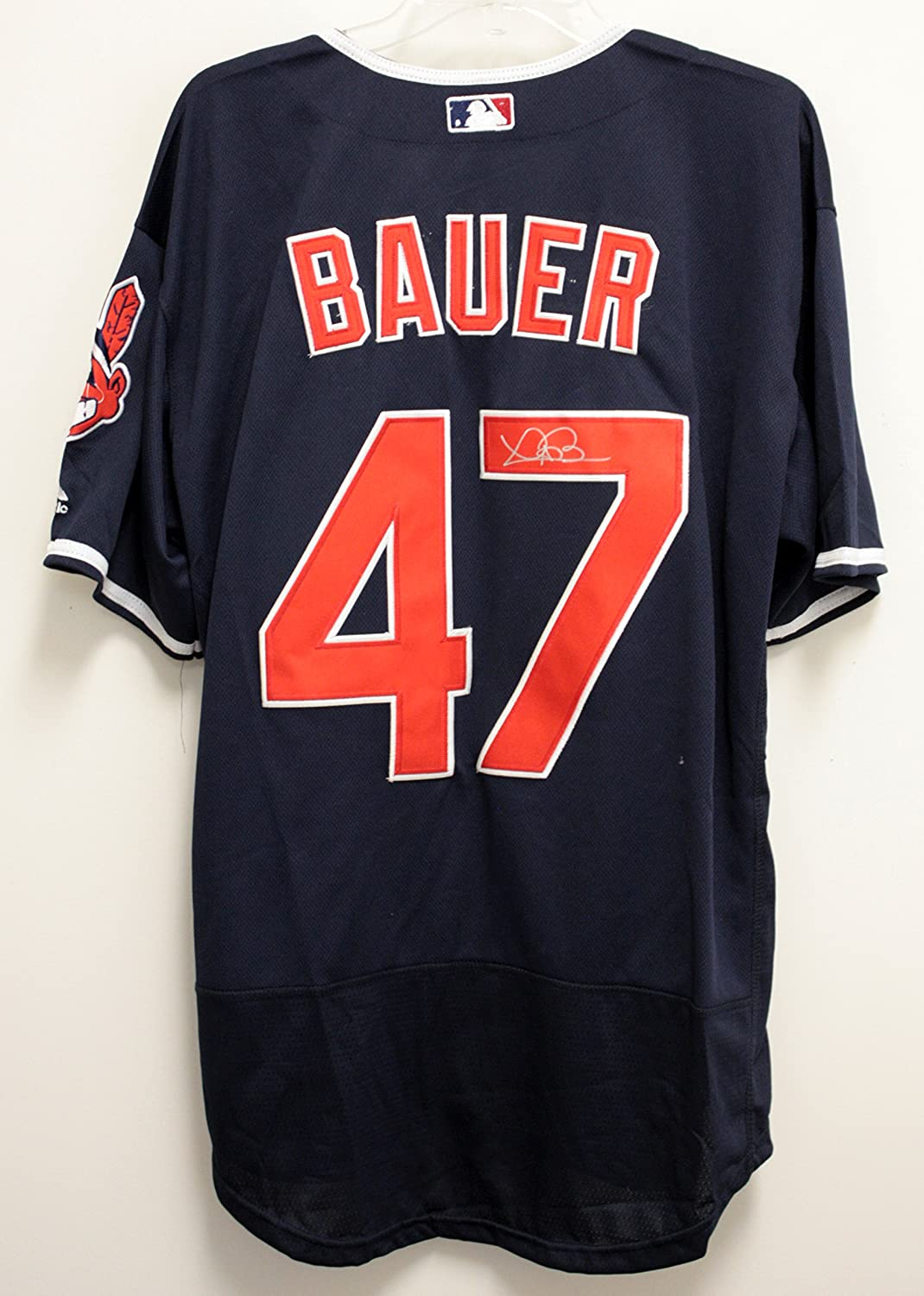 050876804 ... Youth Majestic 55 Authentic Alternate MLB Jersey Trevor Bauer Cleveland  Indians Signed Autographed Bue 47 Jersey Size 48 at Amazons Sports  Collectibles ...