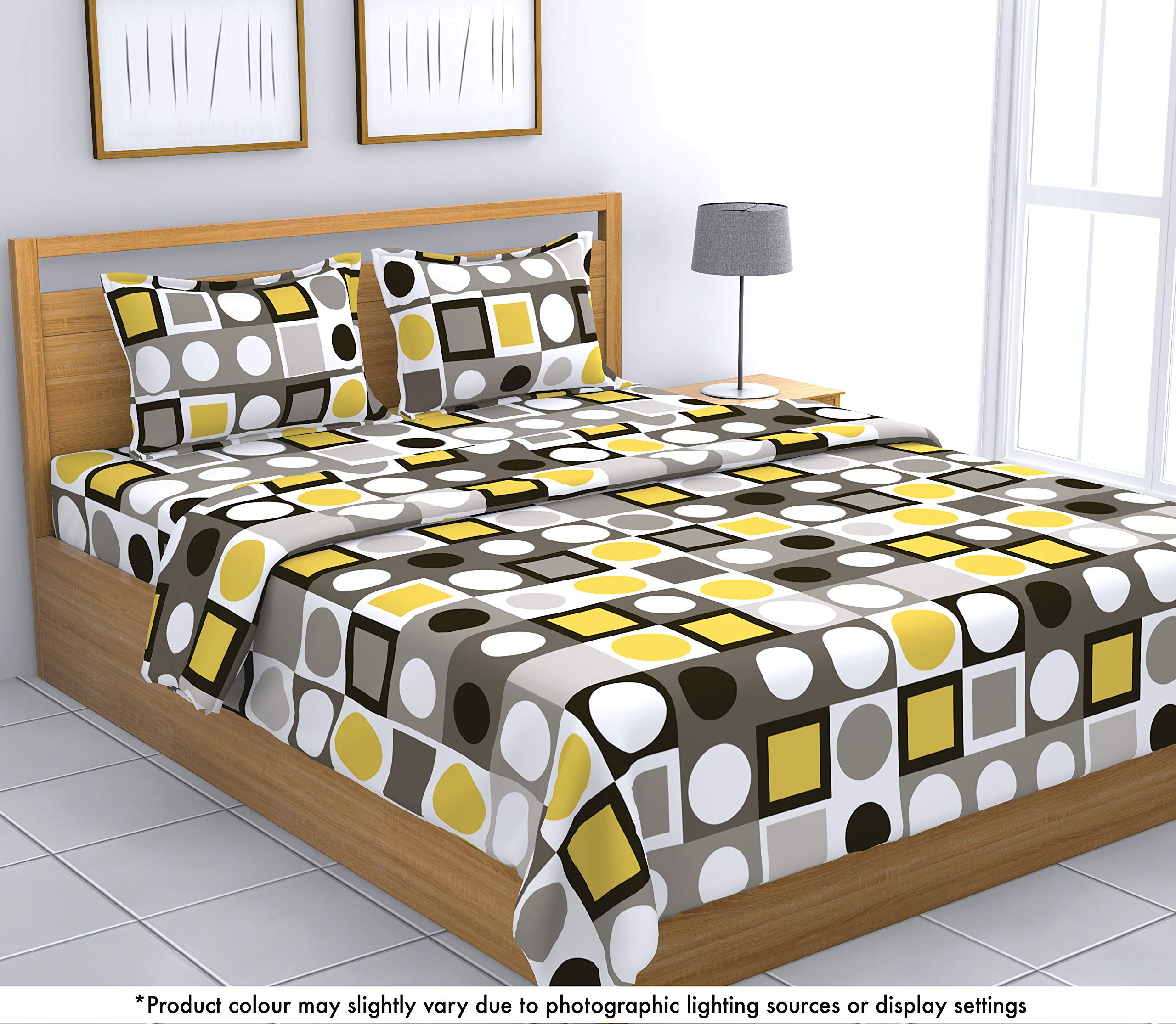 Loreto 144 TC 100% Cotton Double Bedsheet with 2 Pillow Covers, Multi Colour product image
