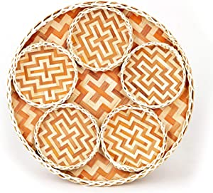 TV BAMBOO Round Woven Bamboo Tray Food, Woven Serving Tray Wall Decor, Brown Rustic Bamboo Woven Tray as Unique Vintage Decor Items for Family, Friends, Classic Lover | Large Tray 12.6x1.2 inches