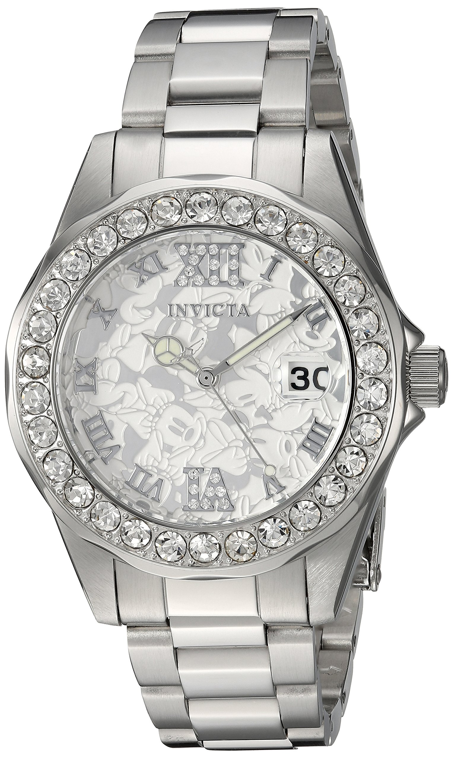 Invicta Women's 'Disney Limited Edition' Quartz Stainless Steel Casual Watch, Color:Silver-Toned (Model: 22869)