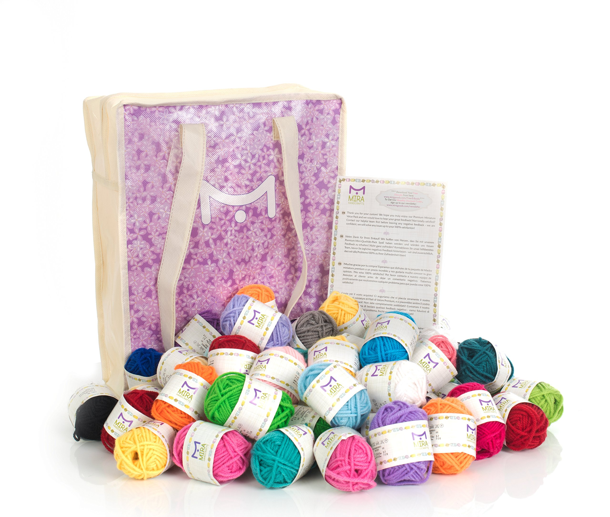 Mira Handcrafts 60 Yarn Bonbons - Total of 1312 Yard Acrylic Yarn for Knitting and Crochet - Yarn Bag for Storage and Accessories Included with Each Pack by Mira HandCrafts (Image #9)
